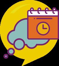 Ícone do projeto de Vida: um balão pensativo com um calendário à frente