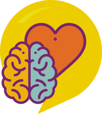 ícone que representa o socioemocional - um cérebro ao lado do coração