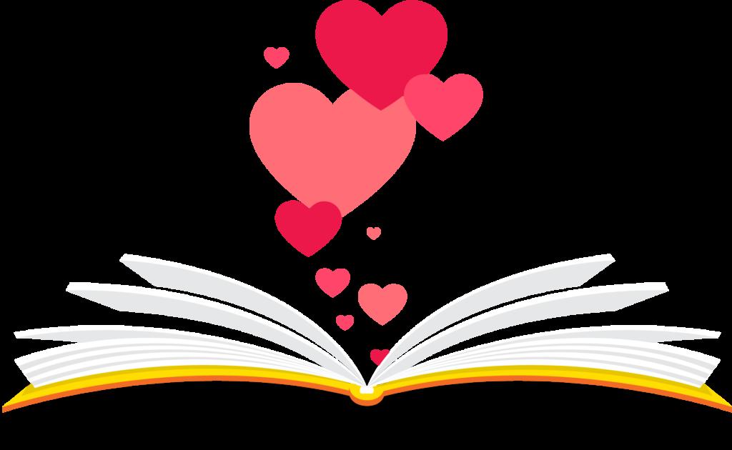 Livro ou caderno aberto, com corações saindo a partir dele