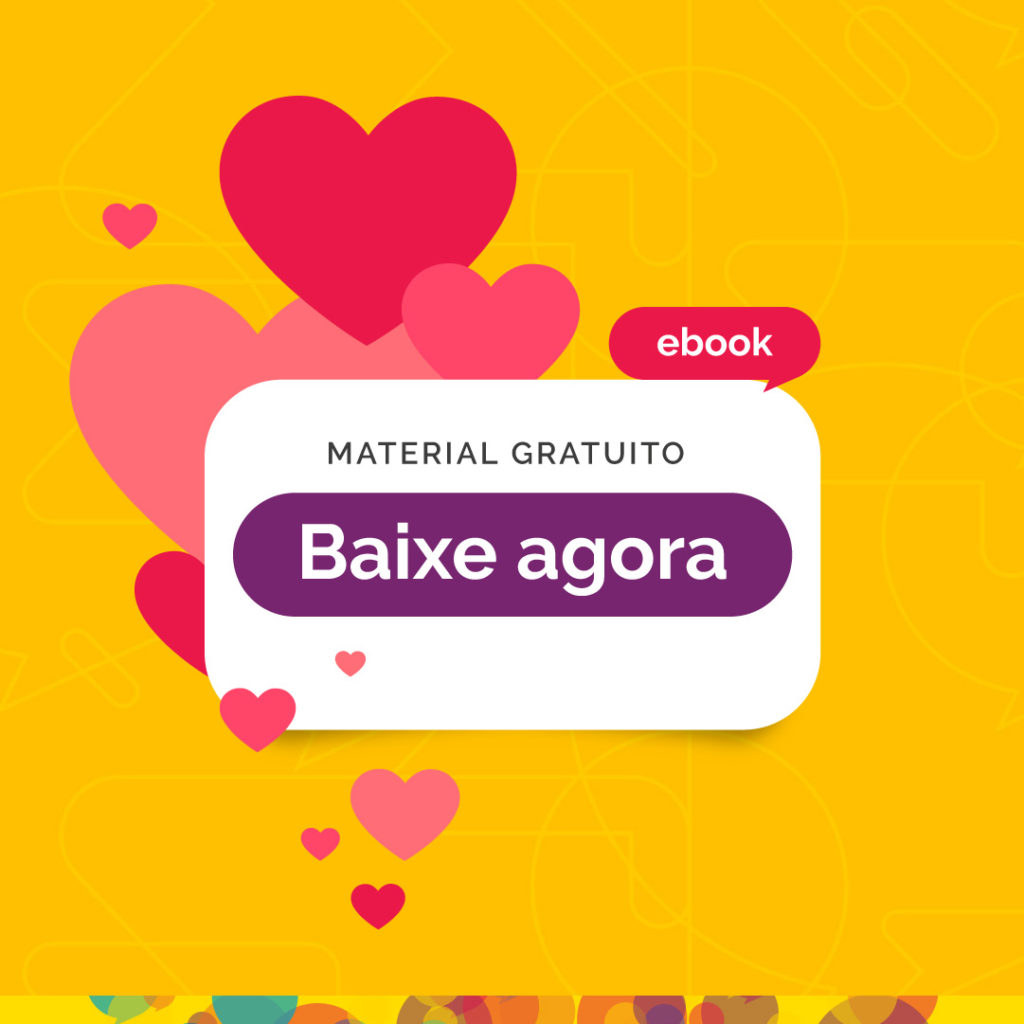 Fundo amarelo com corações e com os dizeres: ebook - Material gratuito - Baixe agora